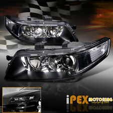 For All 2004-2005 Acura TSX  JDM Black Projector Headlights New Headlamps