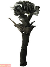 Zombie Corpse Bride Rose Bouquet Halloween Black Flower Fancy Dress Accessory