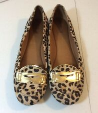 Sperry Top Sider Leopard Calf Hair Gold Accents Loafer Flats Shoes Women Sz 9.5