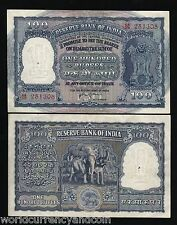 INDIA 100 RUPEES P43C 1957 TIGER ELEPHANT DAM UNC- CURRENCY MONEY BILL RARE NOTE