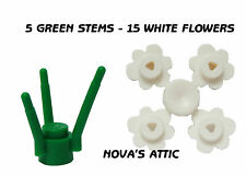 LEGO FLOWERS 15 WHITE FLOWERS - 5 GREEN STEMS FOR LEGO MINIFIGURE NEW