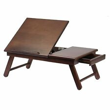 Lap Desk TrayTable Bed Computer Writing TV Flip Top Drawer Folding Dining /Wood