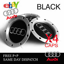 AUDI RS4 BLACK ALLOY WHEEL CENTRE CAPS FITS AUDI TT A1 A2 A3 A5 A4 A6  8D0601165