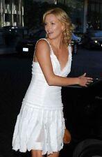 Chanel Runway 04C White Tweed Dress Fringed Skirt CC Logo Size 40 MSRP $4,480