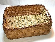Wicker Rattan Rectangle Basket With Handles Wire Framed Storage Display Decor