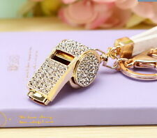 New Fashion Keyring bag chain Rhinestone whistle Charm Pendant Keyfob Keychain