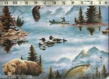 Elizabeth's Studio ~ Trout Bear Loons Eagle Geese ~ 100% Cotton Quilt Fabric BTY