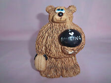 BOWLING BEAR Figurine I Love Bowling Holding Ball Bag Handmade Originals USA