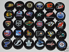 "HOCKEY PUCKS ALL 30 NHL TEAMS Complete Set ""Basic"" Logo InGlasCo Puck Lot NEW"