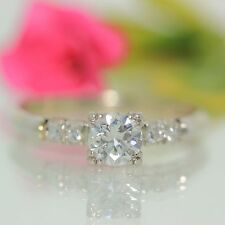 Estate 18k White gold Natural VVS-1 Diamond Solitaire Engagement Ring .54ctw