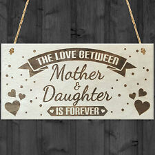 Mother & Daughter Love Is Forever Shabby Chic Wooden Hanging Plaque Gift Sign
