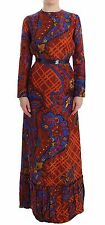 NWT $1800 Caterina Gatta Long Sleeved Multicolor Dress Gown Floral Gown IT42/US8