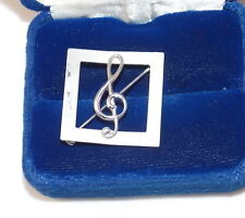 Vintage BEAU Sterling Silver G Cleff Music Not3  Brooch Square Pin 5b 28