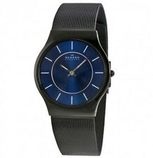 SKAGEN 233LTMN Mens/Gent Ultra Slim TITANIUM Watch Black w/Blue Dial NEW