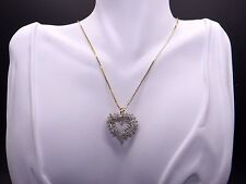 14k Yellow Gold 2ct Round Diamond Heart Love Pendant Necklace 18 inch