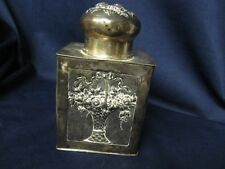 GREAT ANTIQUE FINELY DETAILED EMBOSSED FRUIT FLOWERS SILVER TEA CADDY MAKER??