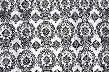 """Black White Flocking Damask Taffeta Velvet  Fabric 58"""" Flocked Decor"""