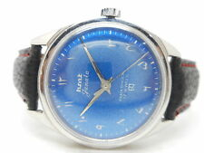 VINTAGE HMT JANATA URDU HAND WINDING MENS STEEL BLUE DIAL WRIST WATCH RUN ORDER