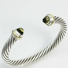 David Yurman Sterling Silver 14K Gold 7mm Prasiolite Cable Cuff Bracelet