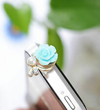 3 x Crystal Pearl Rose Flower Anti-dust Plug Mobile Phone iPhone Charm Bling