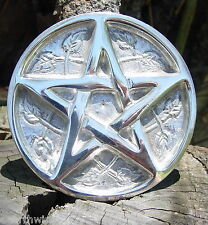 SILVER METAL PENTAGRAM ALTAR TILE 76 mm Pagan Wicca Witch Goth Occult PENTACLE