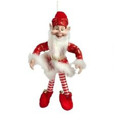 "NEW Red SANTA ELF JESTER Christmas DOLL Poseable 14"" TALL W/ Real JINGLE BELLS"