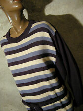 CHIC VINTAGE ROBE RAYéE 1980 VTG DRESS STRIPE 80s KLEID 80er ABITO  (42/44)