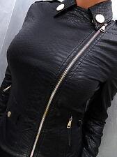 NEU 2017 LEDER OPTIK SCHWARZ LEATHER LOOK Damen Jacke Mantel P51 Blazer Coat L