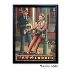 HAPPY DRINKER PUB SIGN POSTER PRINT | Home Bar | Man Cave | Pub Memorabilia