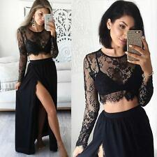 Black 2 Piece Prom Dresses Slit Long Sleeve Lace Sheer Formal Evening Gowns 2017