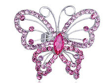Butterfly Widespread Wing Fly Design Pink Rose Crystal Rhinestone Spring Ring