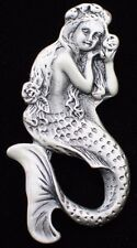 PEWTER TONE OCEAN LIFE SEA SHELL SWIMMING LADY MERMAID PIN BROOCH JEWELRY 2.25""