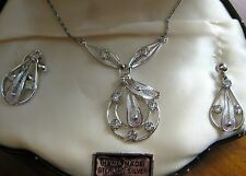 ESTATE STERLING SILVER SORRENTO FILIGREE SET ORIGINAL BOX NECKLACE EARRINGS 1950