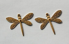 VINTAGE 2 NATURAL BRASS EARRING PENDANT BEADS CHARMS DRAGON FLY FLIES STAMPINGS