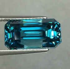 14.14 CTS BLUE ZIRCON TOP COLOR OCTAGON SHAPE CAMBODIA MINED NATURAL GEMSTONE
