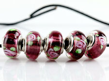 New 5Pcs SILVER MURANO GLASS BEAD Fit European Charm Bracelet Jewelry Making