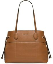 Michael Kors MK Mae East West Brown Leather Drawstring Large Tote Shoulder Bag