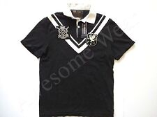 New Ralph Lauren Polo Custom Fit Black Crested 100% Cotton Rugby Shirt S