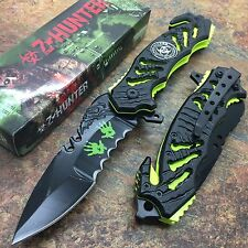Z-Hunter Neon Green Zombie Bio Hazard Apocalypse Survivor Fantasy Pocket Knife