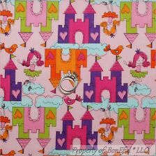 BonEful FABRIC Cotton Quilt Pink Purple Girl Castle Princess Ballet Bird L SCRAP