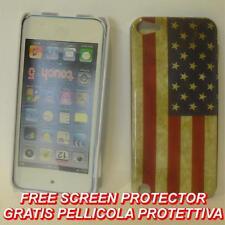 Pellicola+custodia BACK COVER rigida BANDIERA USA FLAG VINTAGE per APPLE IPOD 5