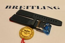 100% Genuine New Breitling Blue Ribbed Diver Pro Tang Buckle Strap, 22-20mm.