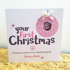 Personalised Handmade Baby's 1st First Merry Christmas Photo Card Daughter Son