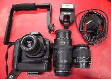 Canon EOS 20D Camera w/ Battery Grip & 18-55mm, 35-80mm, and 70-210mm Canon Lens