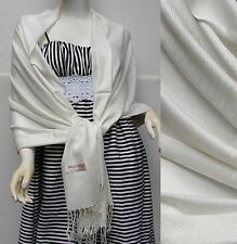 NEW Women Solid 100%Pashmina Wrap Stole Cashmere Wool Shawl/Scarf Soft Cream