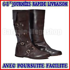 Cuir médiévale Bottes Brown Re-enactment Mens Shoe Larp Role Play Costume