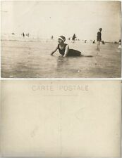 CPA PHOTO postcard girl swimmer at seaside plage Baigneuse au bord de la mer A