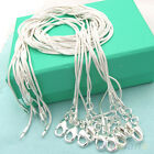 Fashion 10pcs Solid Silver Plated 1mm Snake Chain Necklace 16-24inch Wholesale