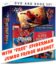 "SPIDERMAN DVD, FOUR 1st EPISODE'S + BOOK OF MARVEL HERO'S & ""FREE"" FRIDGE MAGNET"