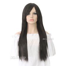 Para mujeres y chicas de largo cabello sintético Rizado Negro Marrón Peluca Disfraz Pelucas Ombre Gris